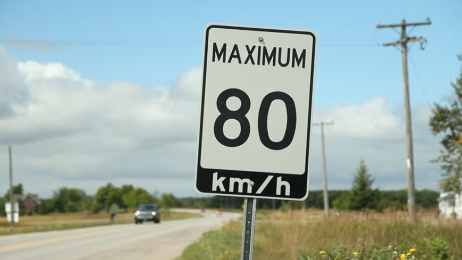 80 KM Road Sign
